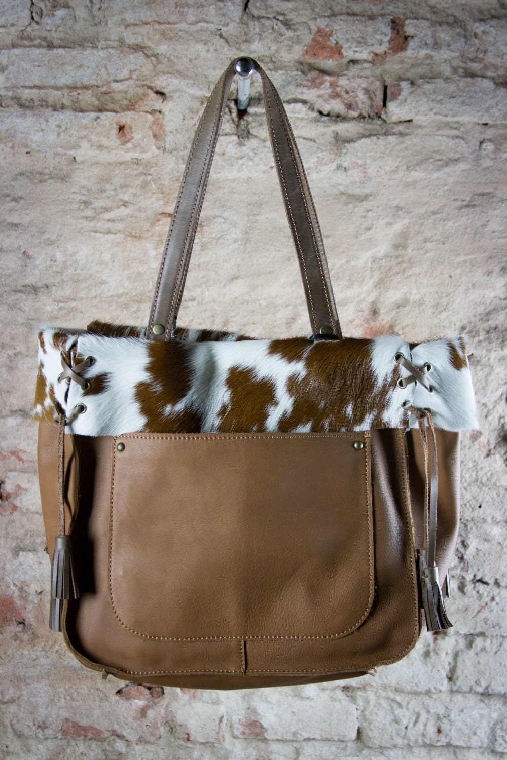 Brown Cowhide Tote Cow Hide Bag Brown Leather Tote Fur Tote