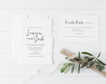 Printable Wedding Invitation Set | Simple Calligraphy Invitation Set | Minimalist Wedding Invitation | Wedding Invitation Suite | WI-027