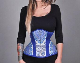 New cobalt boho blue printed underbust steel bones waist training real corset cincher