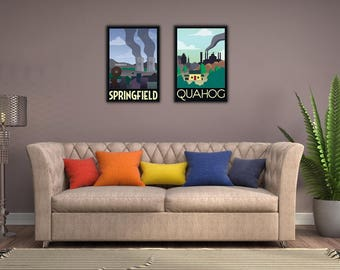 Animated Comedy Set of Two: The Simpsons - Springfield and Family Guy - buy one get one half price Framed Fictional Travel Prints wall art