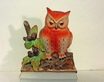 Vintage Owl Music Box, Towle Fine Porcelain Owl Figurine Music Box, Hand Painted