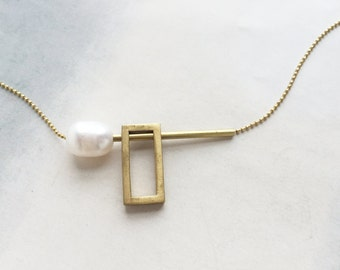 Rectangle link and pearl necklace,  Minimal pearl necklace, contemporary pearl necklace, architectural pearl necklace, Modern pearl necklace