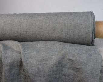 Pure 100% linen fabric 210gsm. Melange chambray, gray anthracite & not dyed flax colors. Middle weight, washed-softened.  For clothing...