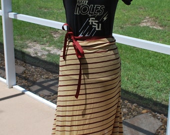 Florida State FSU Seminoles Noles Gameday Maxi Dress, with Tie Waist Size S / M