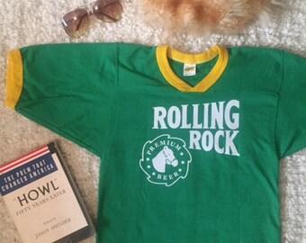 VINTAGE Green & Yellow Rolling Rock Beer Tee XS