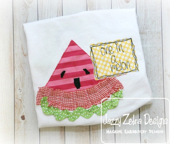 One in a Melon Shabby Chic applique embroidery design - watermelon appliqué design - one in a melon saying embroidery design - bean stitch