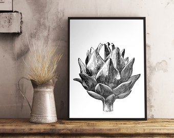 Artichoke Print, Kitchen Print, Minimalist Poster, Food Art, Farmhouse Decor, Housewarming, Vegetable Print 8x10 11x14 16x20 18x24 24x30