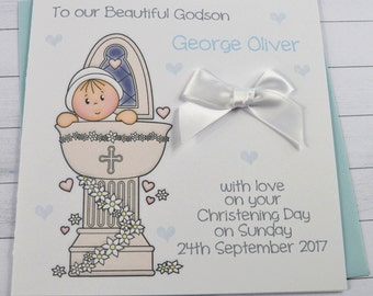 Personalised Handmade Baby Boy Christening/Baptism Card