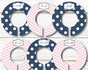 Baby Closet Dividers, Closet Organizers, Baby shower gift, Girl closet dividers, Chevron Dots, Kids Clothes divider, Pink Navy nursery C170