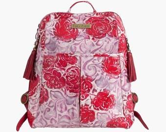 CLEARANCE SALE! Womens Leather Backpack, Red Leather Backpack, Floral Red Backpack, Laptop Bag, Designer bag, 50% OFF Original 495usd Price!