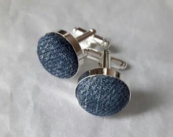 Blue denim cufflinks stone washed jeans cufflinks