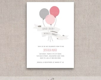 Baby Makes Three Printable Shower Invite, Balloons, Customizable colors