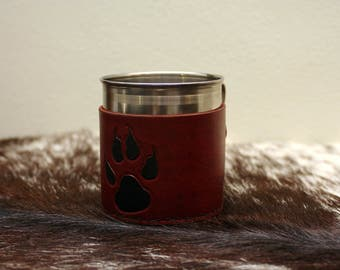 Tankard with Brown Wolf Paw Leather Cover