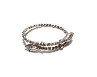 Vintage Sterling Silver Snake Twisted Handmade Bracelet, Snake Jewelry, Sterling Bracelet, Reptile Jewelry, Fine Silver Bracelet,