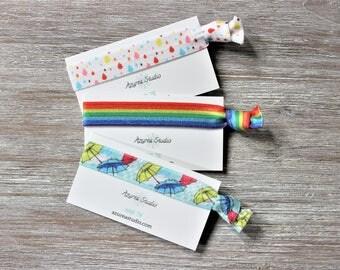 Rain Drops-Rainbow-Umbrellas-Hair Tie