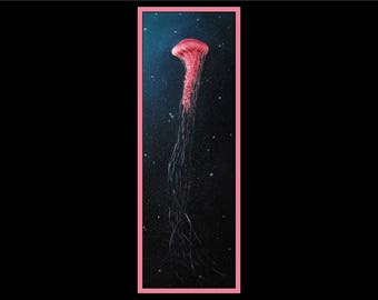 "12x36"" Original Oil Painting -  Jellyfish Painting - Ocean Wall Art"
