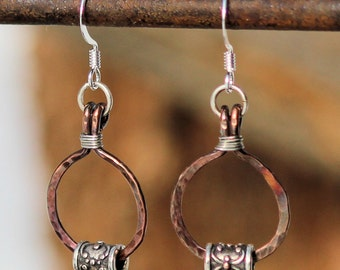Hammered Copper Wire and Silver Bead Earrings