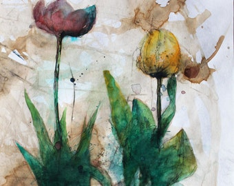 Original watercolor painting The Tulips. FREE SHIPPING! Original Watercolor Flower Painting. Watercolor Flower Wall Painting.