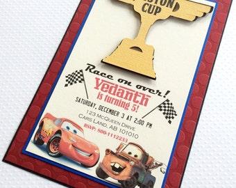Cars Invitation - McQueen Birthday Invitation - Mater Invitation - Handmade Cars Invitation - Disney Cars Invitations