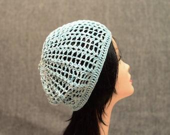 womens blue white beret crochet hat summer cotton beanie hat Spring Hat Designer Hat