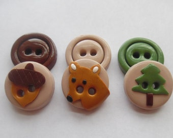 Woodland Buttons ~ Set of 6