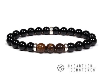 Paragon Collection | Onyx + Bronzite - Beaded Men's Bracelet, Mens Stone Bracelet, Men Stone Jewelry, Bronzite Bracelet, Onyx Stone