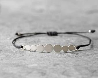 Sea pebble bracelet, sterling silver bracelet, simple bracelet, every day bracelet, thin bracelet