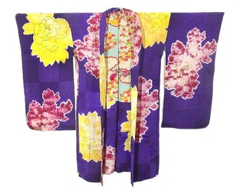 Purple Floral Short Kimono / Silk Robe / Vintage1920's / Perfect Gift / Hand Painted