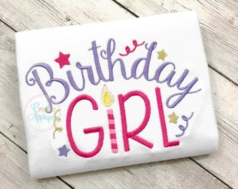 Birthday Girl Digital Machine Embroidery Design 6 Sizes, birthday embroidery, girl birthday embroidery, birthday candle