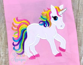 Rainbow Unicorn Digital Machine Embroidery Applique Design 4 sizes, unicorn applique, rainbow pony applique, rainbow unicorn applique