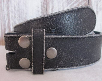 Size medium (34) Black Distressed Soft Genuine Leather Belt strap belt with snaps for interchangeable buckles