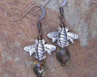 bohemian earrings honey bee earrings green czech glass earrings copper country chic dangle earrings boho earrings Lavish Lucy Designs