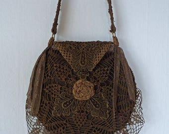 CROCHET BOHO BAG vintage doily purse shabby french chic bag