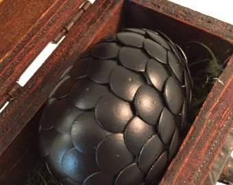 Dragon Egg with Box - Dragon Egg with Chest - Dragon Egg Decor - GoT Dragon Egg - MATTE BLACK - Regal Style Box