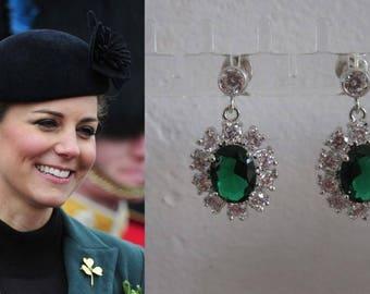 Kate Middleton Duchess Cambridge Inspired Replikate Emerald Green Oval Crystal Drop Earrings