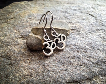 Om earrings boho yoga jewelry zero allergy hooks  gift under 5 dollars - Creations Mariposa
