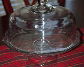 Cake Plate w Dome, Cake Stand has a Clear Rose Flower Design w Scalloped Edges and Pedestal, It also includes a Clear Glass Dome, 1970s
