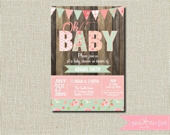 Baby Shower Invitation, Shabby Chic Baby Shower Invitation, Rustic Baby Shower Invitation, Shabby Chic Invitation, Burlap, Vintage Shower