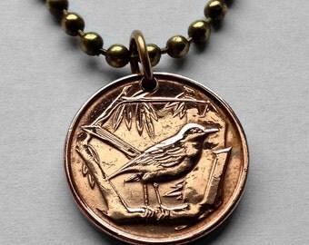 1972 Cayman Islands cent coin pendant song Thrush bird Great Caiman extinct perch song bird sparrow necklace jewelry n000319
