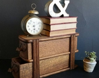 Desk organizer. 2 wood drawer cabinet.