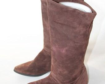 "80s Vintage Brown Suede Boots, ""Lori"" EUR 37 US 6.5"