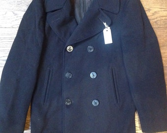 """Vintage 1940s 40s 1950s 50s USN US navy wool pea coat double breasted military navyism 42"""" chest"""