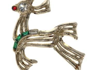 Vtg Rudolph Reindeer Pin Christmas Goldtone Red Green Clear Rhinestones