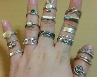 Assorted Lot of Sterling Rings. Different designs, sizes and prices.16 Pieces. Pick and Choose.