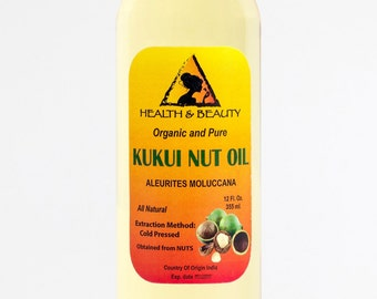 12 oz KUKUI NUT OIL Organic Carrier Cold Pressed 100% Pure