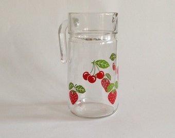 Retro Glass Italian Pitcher with Strawberry and Cherrie Design