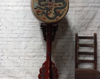 Chinese Dragon Standing Drum with Upright Stand -  6 ft tall