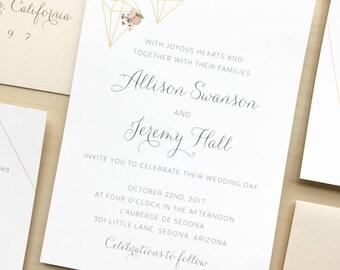 Terrarium Floral Wedding Invitation Suite Sample or Deposit / Blush Floral Weddings / #1118