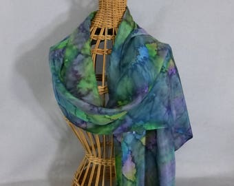 "Silk Scarf ""Teal and Green Blend"", Hand Painted Silk Scarf"