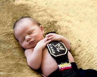 Wrestling belt, crochet baby wrestling photo prop,  newborn photography prop, WWE belt, crochet belt, baby boy prop, name custom, WWF, boy